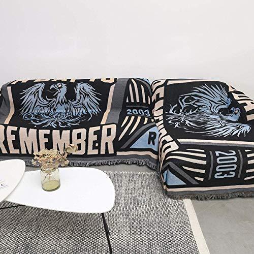 Gemischte Sofabezüge Multi Size Möbelschutz Universal Four Seasons Schonbezug Schnittecke Couch Superweiche Decke Amerikanischer Wandteppich mit dekorativen Quasten, 175 * 260 cm