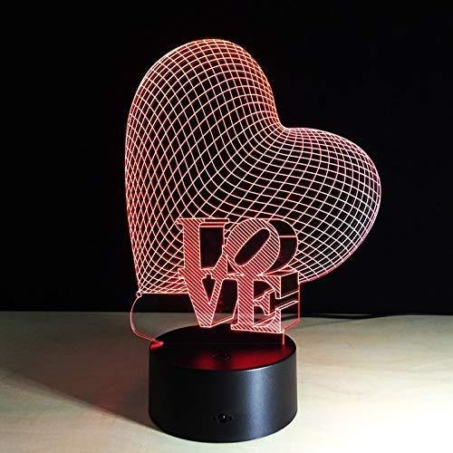 New Nouveauté Love Heart 3D Night Light LED avec capteur tactile USB Lampes de table Filles Valentine cadeaux d'anniversaire du festival Lampe de table dongdong