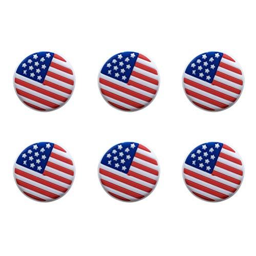 ABOOFAN 6 piezas de silicona para raqueta de tenis, amortiguadores de vibración, bandera americana, absorbentes de raqueta de tenis, raqueta de tenis, cuerdas amortiguadoras para jugadores