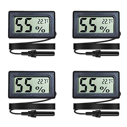 Maiweitong Confezione da 4 mini termometro digitale igrometro con sonda display LCD temperatura Celsius misuratore di umidità per rettili, humidor, incubatore, valigetta per chitarra, serra