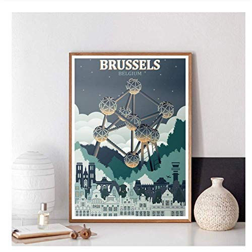 Bruxelles ville imprimer belgique carte de la ville affiche peinture à l'huile affiche imprime toile mur photo pour la maison chambre décor20X28 pouces