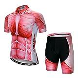 Maillot de ciclismo para hombre, pantalones cortos con acolchado de gel S-5XL, transpirable, secado rápido - - S altura 155/165 cm peso 44.9/54.43 kg