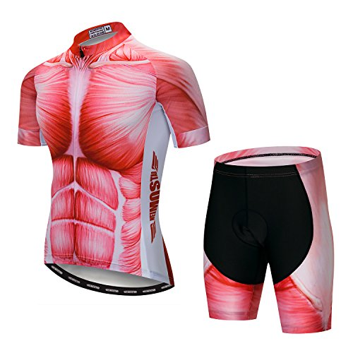 Men's Cycling Jersey Set Men Bike Jerseys and Shorts with Gel Paded S-5XL, Breathable Quick-Dry (Red Muscle Set L)