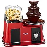 *Tibek - Màquina de crispetes per aire calent, sense oli ni grassa, 1200 W, amb olla antiadherent, mesurador i boca ampla, inclou font de xocolata