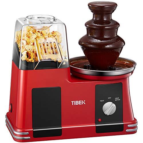 Tibek - Máquina de palomitas por aire caliente, sin aceite ni grasa, 1200 W, con olla antiadherente, medidor y boca ancha, incluye fuente de chocolate