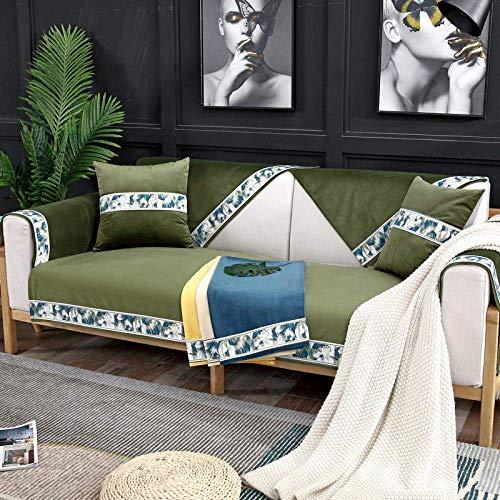JXJ Multi-Size Nordic Simple Chenille Sofabezüge Anti-Rutsch-Sofabezüge für Hunde Katzen Kids Recliner Armlehne Rückenlehnenbezug, grün, 90 * 160