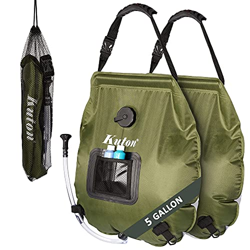 KUTON Solar Shower Bag, 5 gallons/20L Portable Solar Heating Camping Shower Bag with Temperature Indicator & ON-Off Shower Head for Camping Hiking, Fishing, Cycling & Outdoor, 2 Pack(Green)