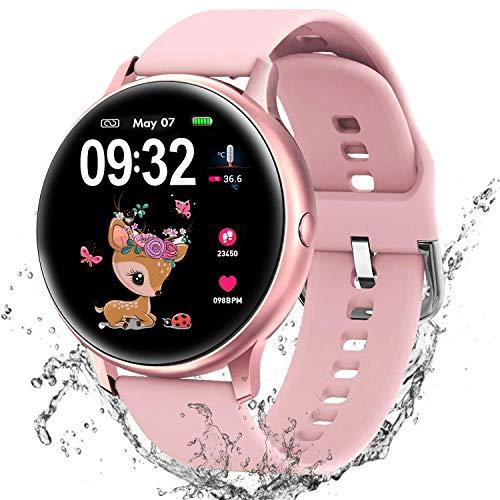 Reloj Inteligente para Hombre Mujer niños, Pulsera Actividad Fitness Tracker con 8 Modos Deportivos Cronómetro Pulsómetro, Monitorear la Temperatura Corporal Smartwatch para Android iOS (Rosa)