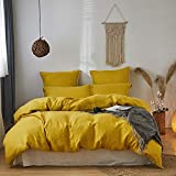 Simple&Opulence 100% Washed Linen Duvet Cover Set 3pcs Basic Style Natural French Flax Solid Color Soft Breathable Bedding with Button Closure (Queen, Mustard Yellow)