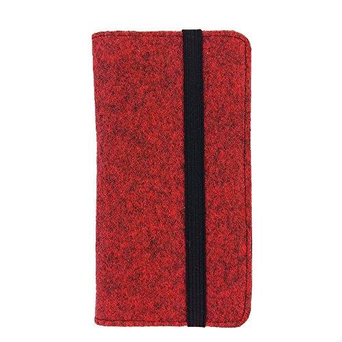 handy-point Universell Organizer für Smartphone Tasche aus Filz Filztasche Filzhülle Hülle Schutzhülle mit Kartenfach für Samsung, iPhone, Huawei (Bis 5,2 Zoll max 14,7x7,3cm, Melange: Rot)