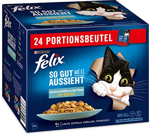 FELIX So gut wie es aussieht Katzenfutter nass in Gelee, Fisch Sorten-Mix, 4er Pack (4 x 24 Beutel à 85g)