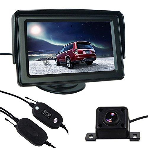 Pathson 4.3 Pouces LCD Moniteur + Caméra de Recul avec 4 IR Lampes Kit de Voiture Arrière Vue sans Fils DC12V