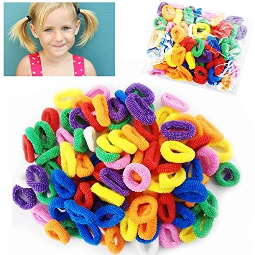Julymall Pack van 100 Lady Meisje Haar Bobbles Bands Mini Baby Paardenstaart Elastische Stretchy Haarband Haarverzorging