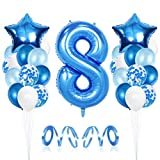 8er Cumpleaños Bebe Globos Decoracion, Cumpleaños 8 Año Bebe Niño, Globos Numeros 8 Decoracion, Globos de Confeti de Latex Boy Ballon Party Cumpleaños 8 Año