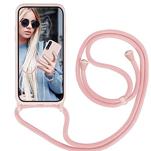 GoodcAcy Funda con Cuerda para Samsung Galaxy A70/A70S,Carcasa Silicona Líquida Correa Colgante Ajustable Collar Correa de Cuello Cadena Cordón Case para Samsung Galaxy A70/A70S, Pink