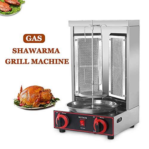 Shawarma Grill Machine Gas in acciaio inossidabile Doner kebab Verticale rotante Grill BARBECUE Grill macchina a gas senza fumo