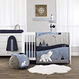NoJo Cosmo Bear - Navy, Light Blue, White and Grey 4 Piece Nursery Crib Bedding Set - Comforter, Fitted Crib Sheet, Dust Ruffle, Diaper Stacker