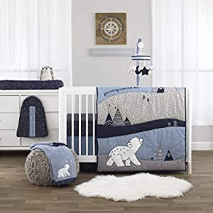 NoJo Cosmo Bear – Navy, Light Blue, White and Grey 4 Piece Nursery Crib Bedding Set – Comforter, Fitted Crib Sheet, Dust Ruffle, Diaper Stacker