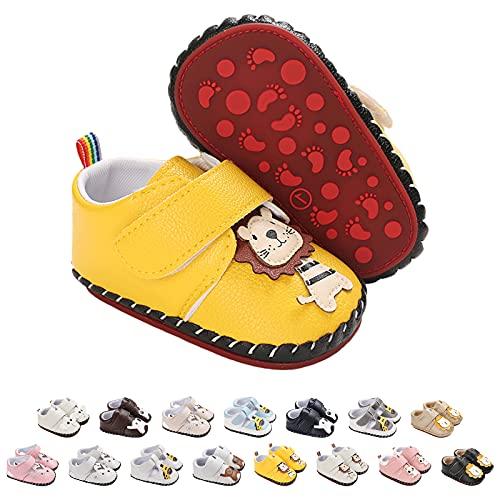 Buty do raczkowania dla niemowląt, sztuczna skóra, modne buty dziecięce, sneakersy, antypoślizgowa podeszwa, dla noworodków, małe dzieci, buty do nauki chodzenia z zapięciem na rzepy, rozmiar 0-18 miesięcy, żółty - N04 żółty - 0-6 Miesi?ce