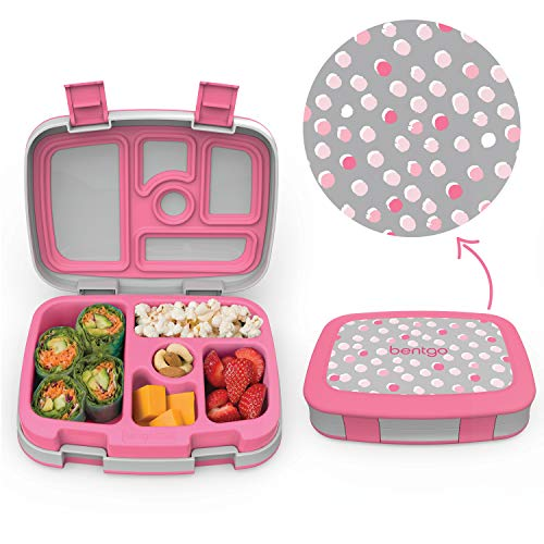 Bentgo Kids Prints (Pink Dots) - Leak-Proof, 5-Compartment Bento-Style Kids Lunch Box - Ideal Portion Sizes for Ages 3 to 7 - BPA-Free and Food-Safe Materials