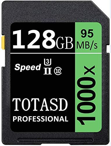 Speicherkarte, SD-Karte, TOTASD, 128 GB, SDXC SD Card UHS-II, Speicherkarte, U3 Geschwindigkeit bis zu 95 MB/s für DSLR-Kamera, HD Camcorder, Gold 3D Kamera (128 GB)