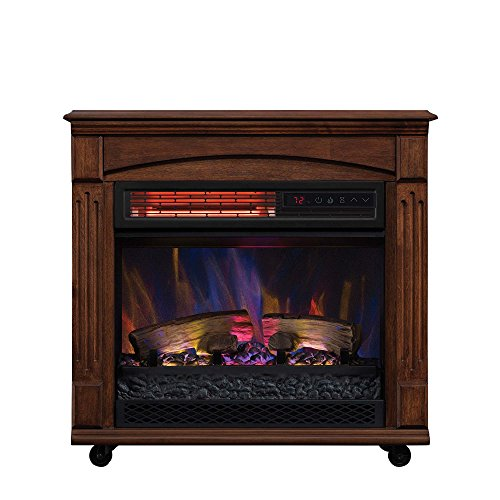 ChimneyFree Rolling Mantel, Infrared Quartz Electric Fireplace Space Heater Heater Infrared Space
