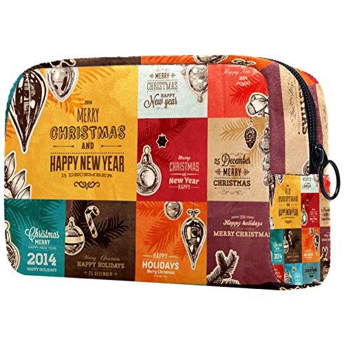 Bolsa de cosméticos para mujer, diseño de elementos navideños, bolsas de maquillaje, accesorios organizadores de regalos
