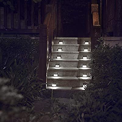 Solar Lights for Deck Steps Fences, LED lamp, Outdoor Waterproof, White Light 6 Pack