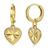Dangle Earrings for Women Teen Girls Kids Baby 18K Gold Plated Heart Tiny Drop Earrings Small Huggie Hoop Earrings Fashion Jewelry Gifts (Gold)