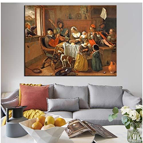 De Gelukkige Familie Muur Kunst Canvas Prints Van Jan Havickszoon Steen Nederlandse Gouden Eeuw Reproducties Schilderijen Voor Woonkamer Muur