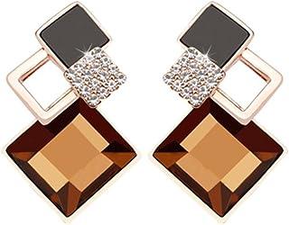 LUFA Cristallo Rhombus a forma di orecchio orecchini della lega Studs strass orecchini 2 colori