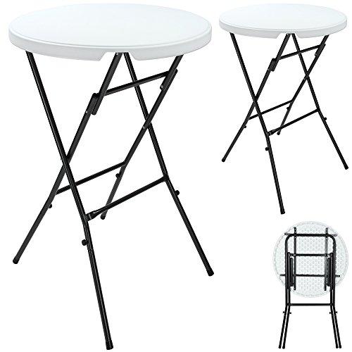 Deuba | Lot de 2 tables hautes • pliable • plateau en plastique blanc • Ø 80 cm | Table haute, table de bar, mange-debout