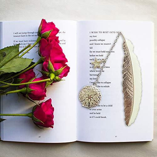 Metall feder Lesezeichen Leuchtende Lesezeichen, Geschenk für Leser Frau und Mädchen