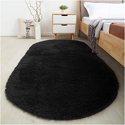 Softlife Fluffy Area Rugs for Bedroom 2.6' x 5.3' Oval Shaggy Floor Carpet Cute Rug for Girls Room Kids Room Living Room Home Decor, Black