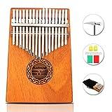 GUNAI 17 Schlüssel Kalimba Daumenklavier, Mahagoni Marimba Instrument mit Tuninghammer und 7...