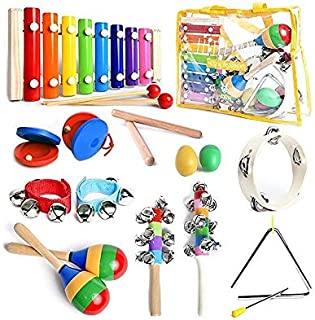 Certified Musical Instruments Set with Xylophone for Kids. 15 Pcs. Toddler wooden Toy Percussion Set with a FREE SMART WAL...