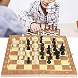 Ong Juego de ajedrez de Caja de Madera, ajedrez de Madera Vintage Compacto Plegable, portátil para Viajes Familiares en casa, Escuela