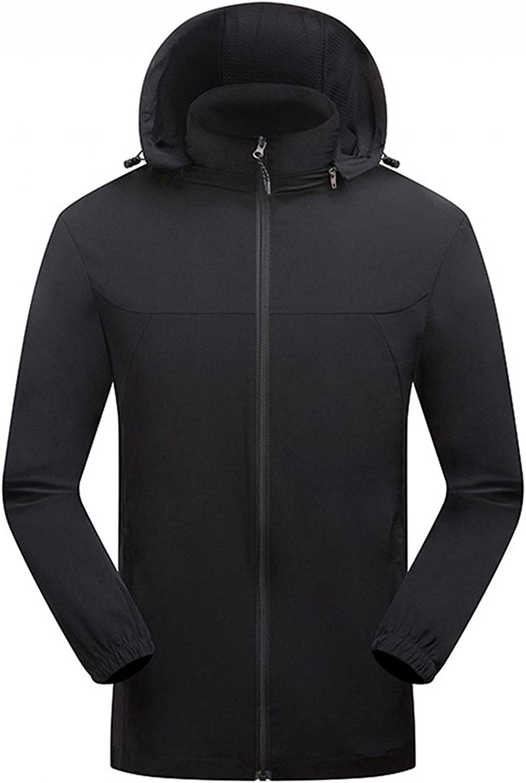 Huangse Man's Plus Size Raincoat Waterproof Trench Coat Outdoor Hooded Light Rain Jacket Packable Windbreaker, M-6XL