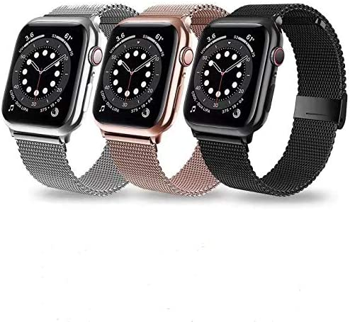 3 Pack Stainless Steel Milanese Mesh Magnetic iwatch Bands Compatible for iWatch band 38mm 40mm product image