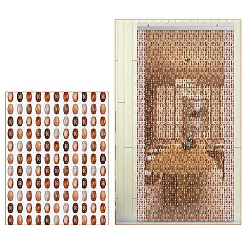 Cortina de perlas de madera para colgar, mosquitera, decoración para separar las cuerdas colgantes, 80 × 180 cm