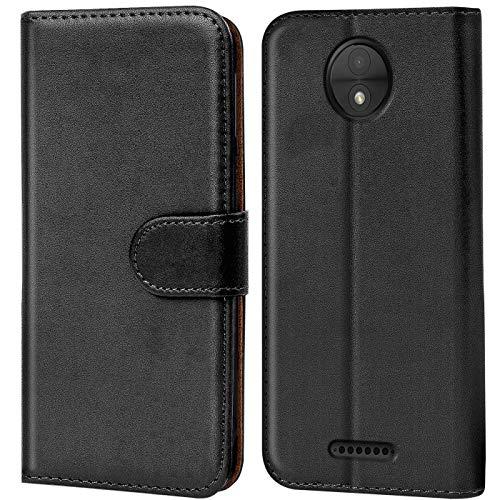 Verco Moto C Hülle, Handyhülle für Motorola Moto C Tasche PU Leder Flip Hülle Brieftasche - Schwarz