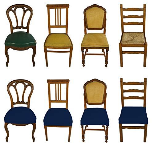 Banzaii 4 Pezzi Coprisedia Universale Senza Schienale Subito Fatto per Sedie da Ufficio, Cucina, Sala da Pranzo, Camera, Hotel o Ristorante in Tessuto Super Elasticizzato, Made in Italy Blu