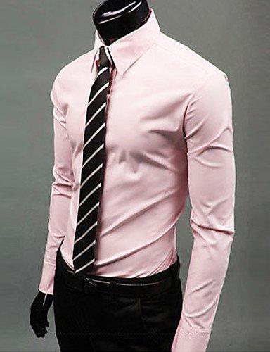 HAN-NMC Men's Long Sleeve Shirt, Travail Formel /,2XL,Pink