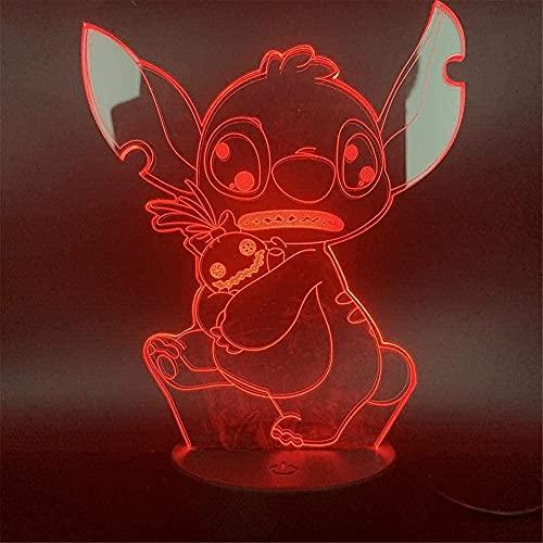 Lámpara de ilusión 3D LED noche luz lámpara de noche 16 colores cambiando control remoto modelo de muerte creativo dormitorio decoración regalo regalo de cumpleaños idea fresca puntada Tatapai