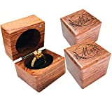 Mr. and Mrs. Ring Box – Handmade Wood Ring Box for Wedding Day Ring Boxes Small Engraved for Engagement/Proposal, Rustic Ring Box, Ring Storage Box Engagement Gift (Wood Ring Box - Flower 2 PCs)