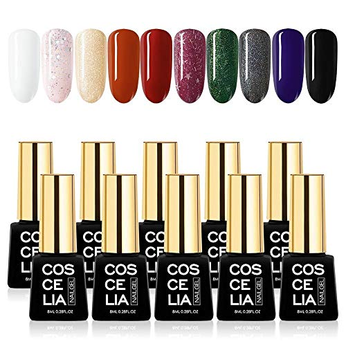 YCSC 6 / 10PCS Gel Nail Set Polish 40 Couleurs à Choisir 2-3 semaines Sélectionnez l'usure LED/UV Set Ongles Lampe manucure 8ML (Couleur : 10PCS SETD)