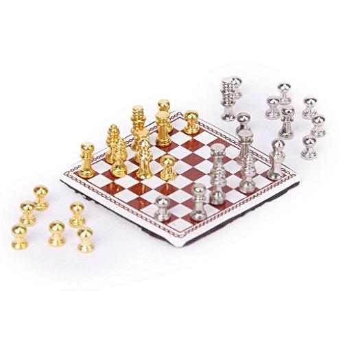 TOOGOO(R) 1/12 Miniatura de casa de munecas Juego de ajedrez de metal Plata y Oro