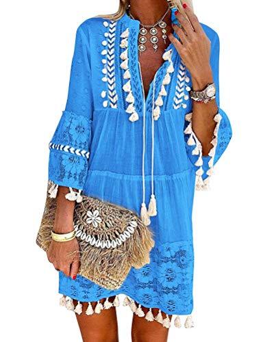 Minetom Damen Kleider Strand Elegant Casual A-Linie Kleid Langarm Sommerkleider Boho V-Ausschnitt Quaste Spitze Tunika Böhmen Mini Kleider A Blau 44
