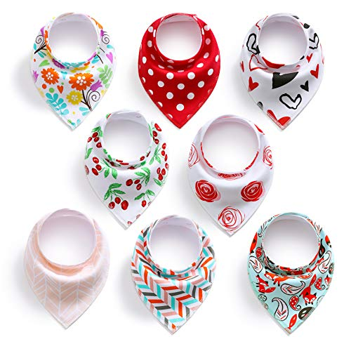 PandaEar Baby Bandana Drool Bibs 8 Pack for Drooling and Teething, Super Absorbent Hypoallergenic, Vibrant Colors for Girls (Variety)