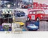 BXZGDJY Papier Peint Autocollant (W) 500X (H) 375Cm Cool Murale Rétro Vintage Luxe Voiture De Sport Outils Fond D'Écran Voiture Classique Peintures Murales Enfants Garçons Chambre Chambre À Couch